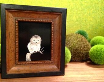 Vintage Solid Wood Framed Owl Etching