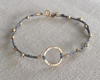 Gold Circle Bracelet, Hoop Bracelet, Hammered Hoop Bracelet, Stacking Bracelet, Linen Bracelet, Boho Bracelet