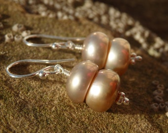 Cupcake Pearl Earings, Pearl Earrings, Freshwater Pearl Earrings, Unique Pearl Earrings