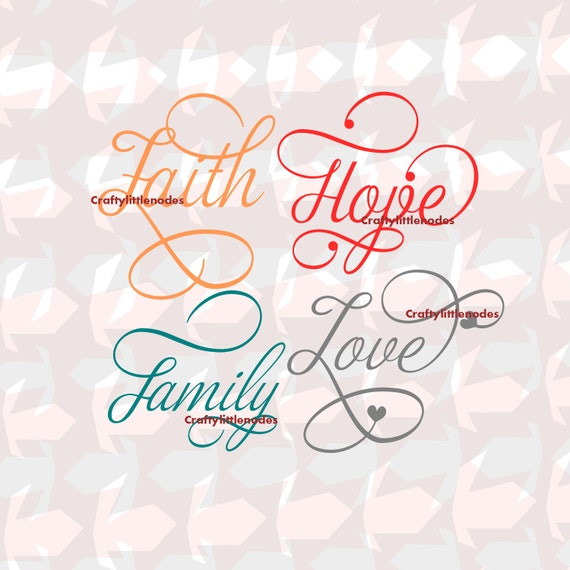 Love Faith Hope Family Script Words SVG STUDIO Ai Eps Scalable Vector Instant Download Commercial Use Cutting File Cricut Explore Silhouette