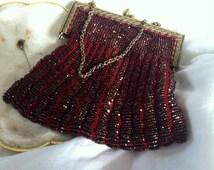 Antique French Red Beaded Glass Art Nouveau Evening Bag with Gold  Filigree Frame/ Winter Wedding Bag/Unique Evening Bag