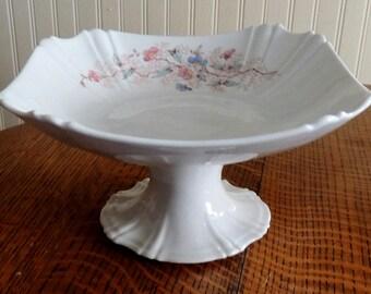 Antique Austria Porcelain Pedestal Fruit Dish Early Hand Painted