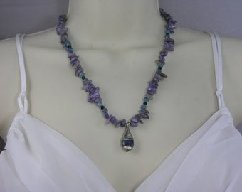 Charoite, Jasper, Czec Crystal Necklace w/Tibetan Silver and Lapis Pendant