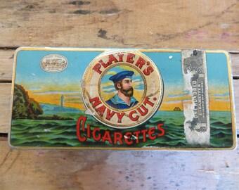 1950s Blue Cigarette Tin Player's Navy Cut Cigarettes Montreal Canada Imperial Tobacco Nottingham Castle Nautical Theme Tobacciana