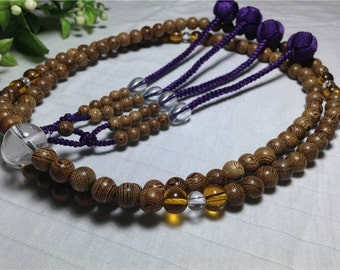 Juzu buddhist prayer beads,Tagayasan natural wood carved,with elegant purple braided balls