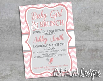 Baby Girl and Brunch Shower Invitation