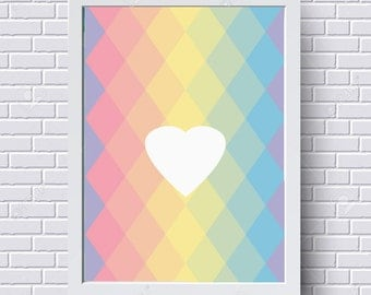 Nordic heart poster in A4 format