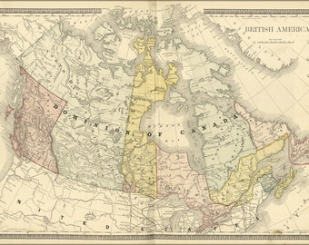 24x36 Poster; Map Of Canada 1881