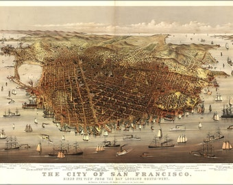 24x36 Poster; Map Of City Of San Francisco 1878