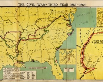 24x36 Poster; Map Of Civil War Third Year