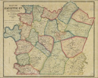 24x36 Poster; Map Of Fayette Co., Pennsylvania 1865