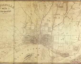 24x36 Poster; Map Of Louisville Kentucky And Its Defences 1865