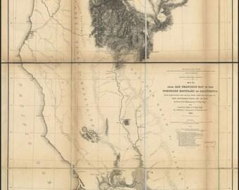 24x36 Poster; Map San Francisco Bay To N California  1855