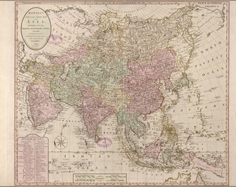 24x36 Poster; Map Of Asia 1791; India Russia China Japan