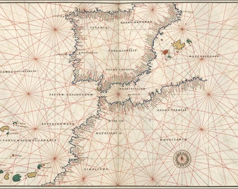24x36 Poster; Map Of Spain And Straits Of Gibraltar 1544
