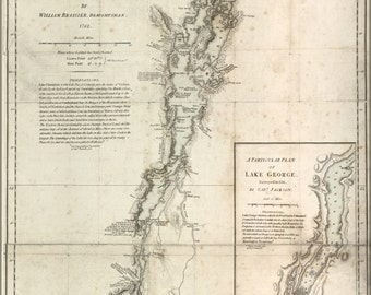 24x36 Poster; Survey Map Of Lake Champlain, By Brassier 1776