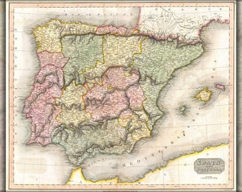 24x36 Poster; 1815 Thomson Map Of Spain And Portugal
