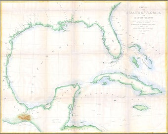 24x36 Poster; Map Of The Straits Of Florida And Gulf Of Mexico C1852 Andrews