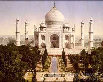 24x36 Poster; Taj Mahal Agra India C1900 Photochrom