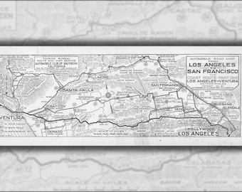 24x36 Poster; Automobile Road From Los Angeles To San Francisco Via Coast Route. Part One- Los Angeles To Ventura, 1916 (Aaa-Sm-004669)