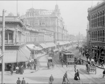 24x36 Poster; Hamburger'S Department Store Seen From Down A Very Busy Street, Ca.1890-1899 (Chs-154.1) #031715