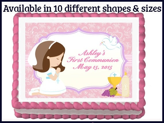 First Communion Girl Edible Party Cake or cupcake Toppers