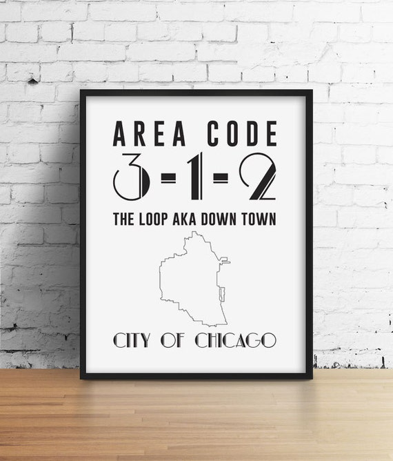 Items similar to Chicago Loop Area Code 312 on Etsy