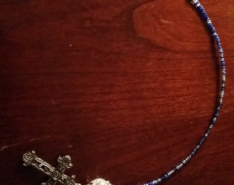 Blue Cross/Dove Seed Bead Bookmark