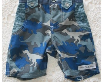 Dinosaur Longies Shorts with Appliqué Pockets