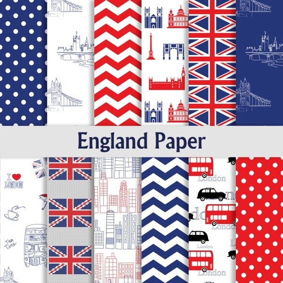 Digital Paper Pack England Papier Mit Polka Dots