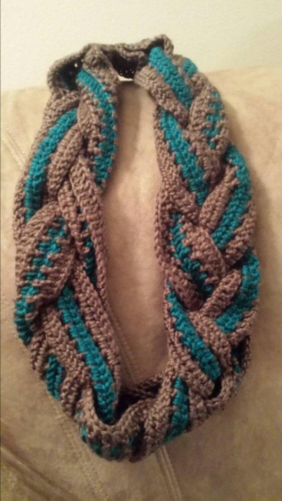 3 strand braided crochet infinity scarf