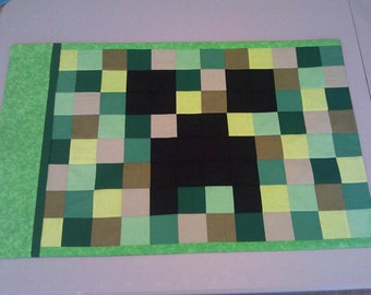 Minecraft Creeper Inspired Pixel Pillowcase Pillow Case Patchwork Pillow Sham Green New Handmade Xbox Video Game Quilt