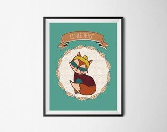 Cute illustration Little thief print