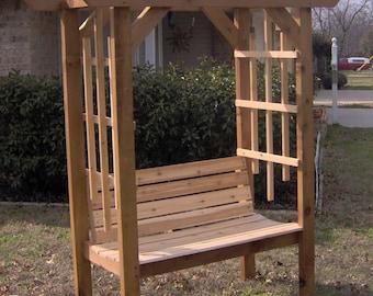 Brand New Cedar Garden Arbor with Park Style Bench - Free Shipping