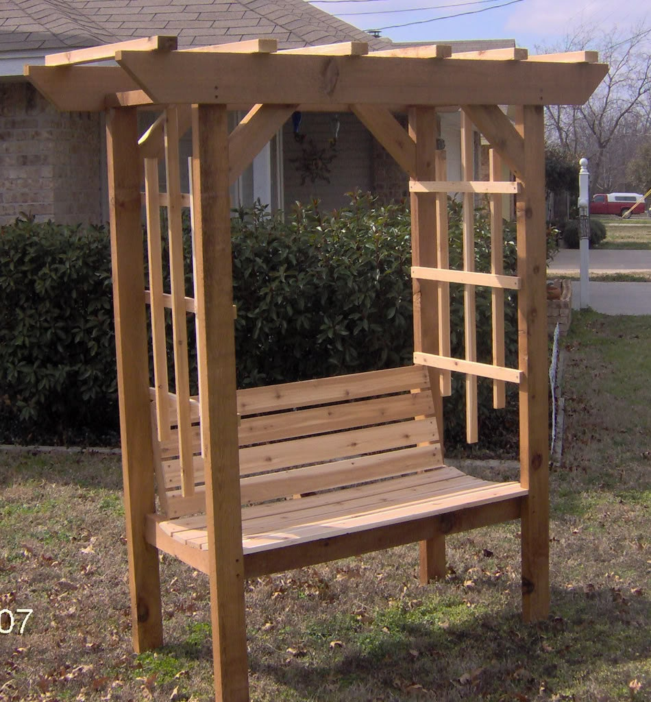 Brand New Cedar Garden Arbor With Park Style Bench Free