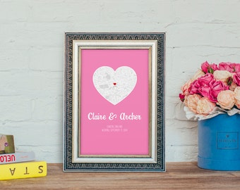Personalised 'Map' Art Print for Wedding, Engagement or Holiday