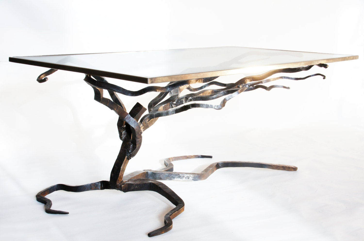 Glass And Metal Coffee Table Forged Sofa Table By Burntoborn