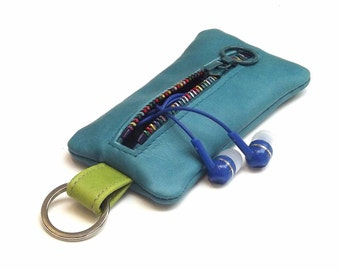 Zipper Turquoise blue leather headphone earphones organizer case on a keyring, Zipper coin purse, leather keychain
