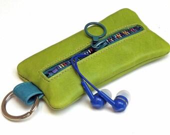 Zipper Lime Green headphone earphones organiser case on a keyring,  Keychain purse, coin purse, zipper purse. leather keychain