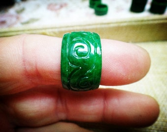 natural jade caved rings (U.S. ring size:  9)