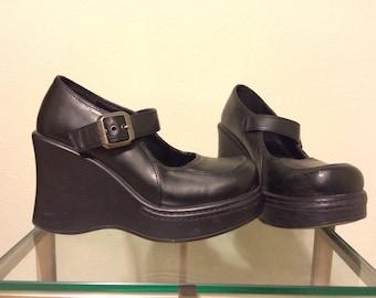 Vintage 90s Platform Chunky Black Heels ON SALE