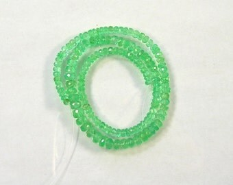 "Colombian emerald  faceted rondelle beads AAA 3-5mm 12"" strand"