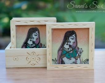 Agate coaster, wooden coaster, Gemstone painting coaster, coasters, painted coasters, traditional painting, vintage coaster, coaster