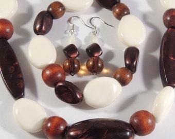 Upcycled necklace, earring and bracelet set