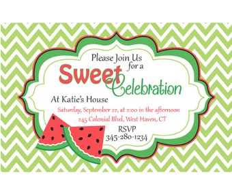 Personalized Printed Watermelon Birthday Invitations. Watermelon Birthday. Invitations. Watermelon. White. Red. Green. 5 X 7 Invitation.