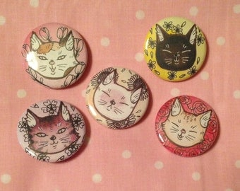 Cats and Flowers Button set