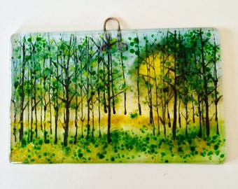 Sunshine woods Fused glass Art
