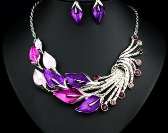 Silver Plated Swarovski Crystal Party Choker Necklace & Earring Set SZ0055