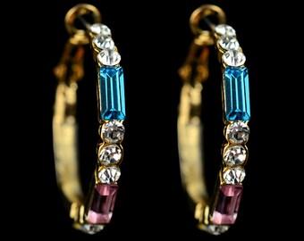 18k Gold Plated Swarovsk Crystal Hoop Earrings EZ0377