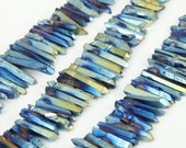 Full Strand Blue Green Titanium Quartz Stick Beads Pendants Bulk,Raw Crystals Gemstone Spike Points Necklaces Charms Supplies